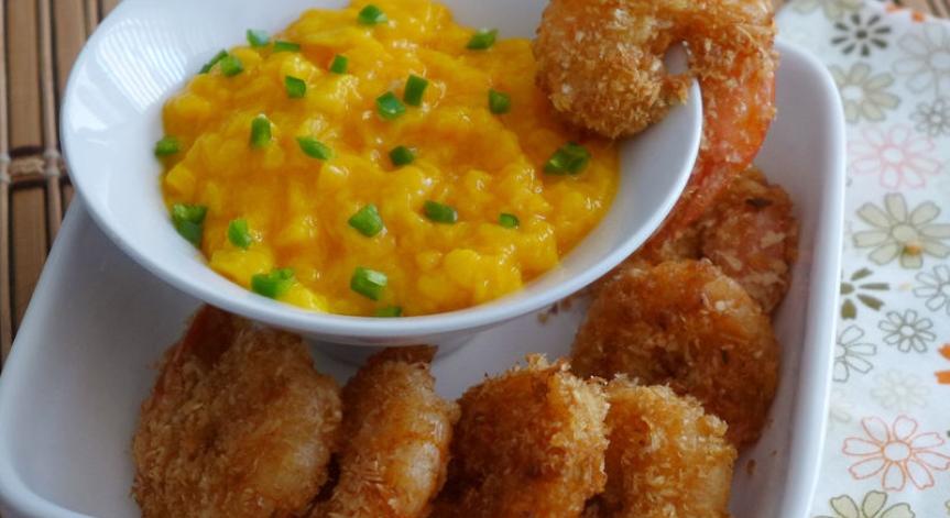 recetas de camarones con coco y mango